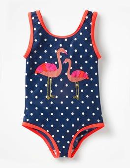Deep Sea Blue Flamingos Appliqué Swimsuit
