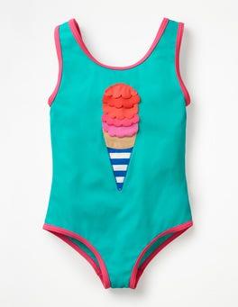 Jade Green/Ivory Ice Cream Appliqué Swimsuit