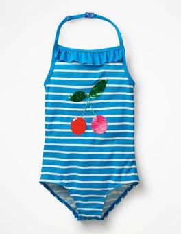 Blue Burst/Ivory Cherries Colour-change Sequin Swimsuit