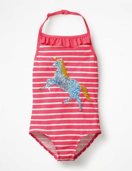 Pomegranate Pink/Ivory Unicorn Colour-change Sequin Swimsuit