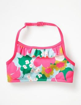 Blue Quartz Tropical Floral Ruffle Bikini Top