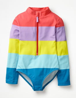 Rainbow Stripe Stripy Long-sleeved Swimsuit
