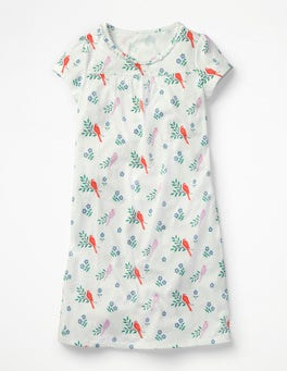 Ivory Beautiful Birds Printed Nightie
