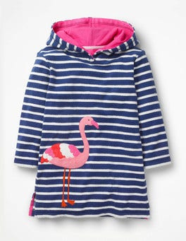 Starboard Blue/Ecru Flamingo Fun Towelling Beach Dress