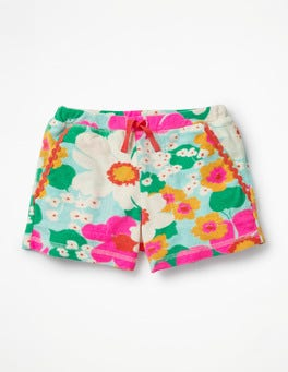 Blue/Pink Tropical Floral Towelling Shorts