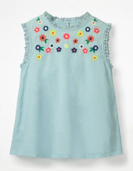 Tropical Rain Blue Floral Embroidered Top