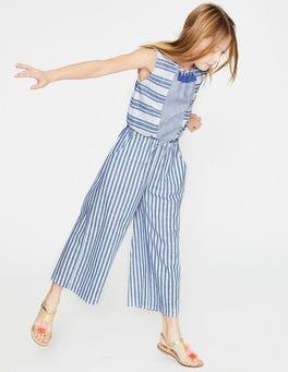 Elizabethan Blue/White Tassel Detail Culotte Jumpsuit