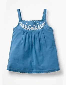 Elizabethan Blue Embroidered Strappy Top