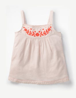 Parisian Pink Embroidered Strappy Top