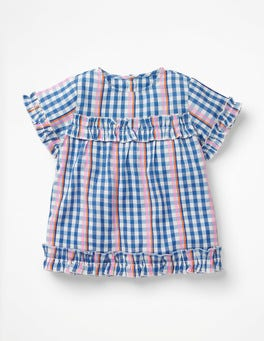 Rainbow Gingham Pretty Ruffle Detail Top