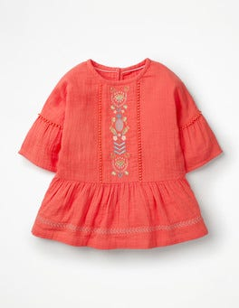 Tropical Coral Embroidered Peplum Top