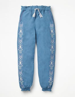 Elizabethan Blue Embroidered Floaty Pants