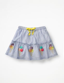 Chambray Sequin Appliqué Skirt