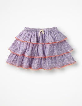 Purple and White Sweet Berry Printed Tiered Skirt