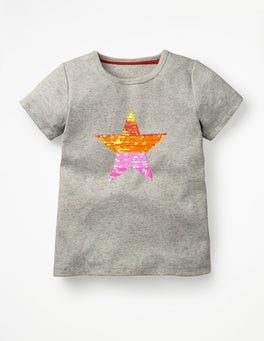 Grey Marl Orange Star Sequin-change T-shirt