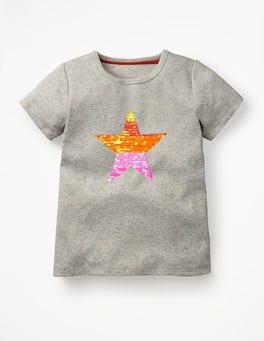 Grey Marl Orange Star Sequin-change T-shirt