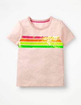 Parisian Pink Rainbow Stripe Sequin-change T-shirt