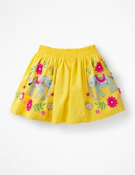 Sweetcorn Yellow Elephants Bright Embellished Skirt
