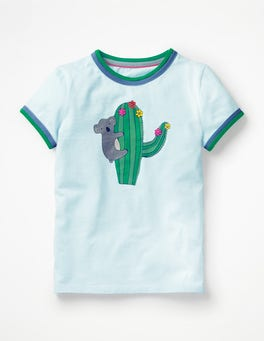 Pale Blue Cactus Animal Fun T-shirt