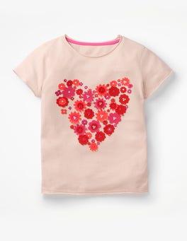 Parisian Pink Heart Flutter Appliqué T-shirt