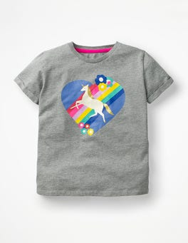 Grey Marl Unicorn Retro Printed T-shirt