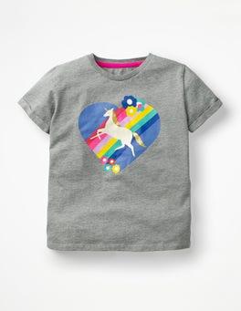 Grau Meliert, Einhorn T-Shirt mit Retromuster