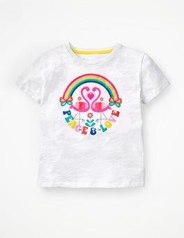 White Flamingos Retro Printed T-shirt