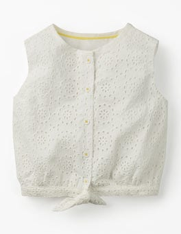 White Broderie Tie-front Top