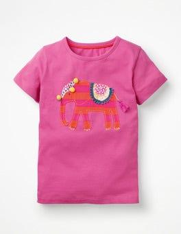 Tickled Pink Elephant Animal Big Appliqué T-shirt
