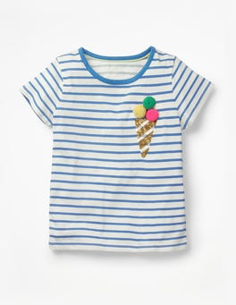 White/Duke Blue Ice Cream Stripy Embellished T-shirt