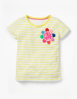 White /Sunshine Yellow Love Stripy Embellished T-shirt