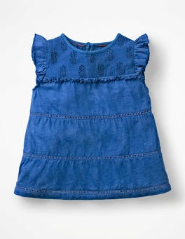 Duke Blue Tropical Broderie Top