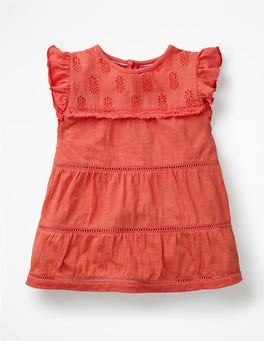 Tropical Coral Orange Tropical Broderie Top