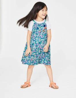 Sea Breeze Blue Forget-Me-Not T-Shirt and Printed Dress Set