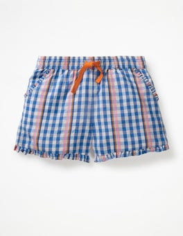 Rainbow Gingham Frill Hem Shorts