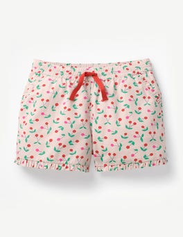 Parisian Pink Cherries Frill Hem Shorts