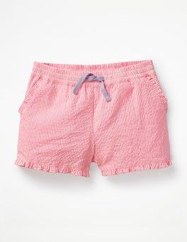 Festival Pink/White Stripe Frill Hem Shorts