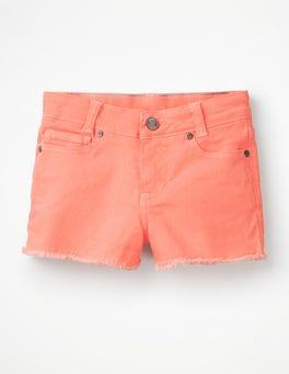 Highlighter Orange Denim Shorts