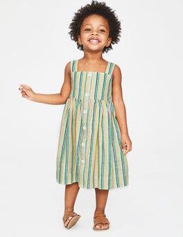 Bunt, Pastelltöne, Gestreift Sommerkleid zum Knöpfen