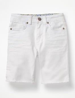 White Long Denim Shorts