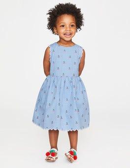 Cherry Gingham Clip Dot Scallop Edge Vintage Dress