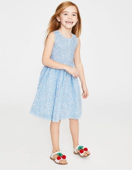 Seeblau, Süße Beere Gemustertes Kleid mit überkreuzten Trägern