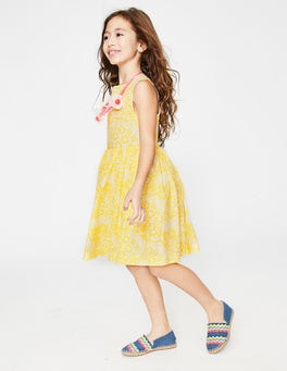 Sunshine Yellow Daisy Cloud Cross-back Printed Dress