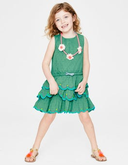 Jungle Green Tiered Ruffle Dress