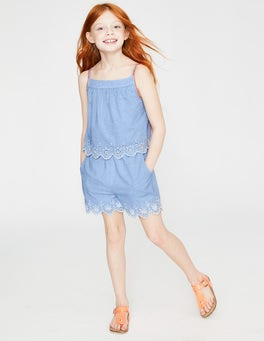 Chambray/White Broderie Fun Layered Romper