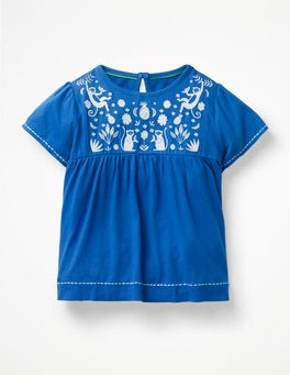 Duke Blue Monkeys Tropical Embroidered Top