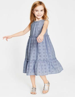 Harebell Blue Broderie Tiered Midi Dress