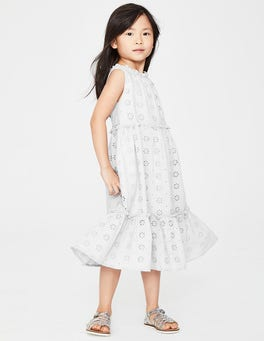 White Broderie Tiered Midi Dress