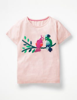 Parisian Pink Birds Safari Appliqué T-shirt