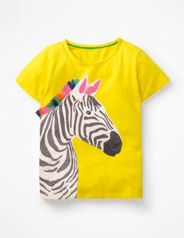 Sunshine Yellow Zebra Safari Appliqué T-shirt